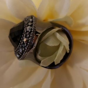 Premier Designs Black Marcasite Cocktail Ring